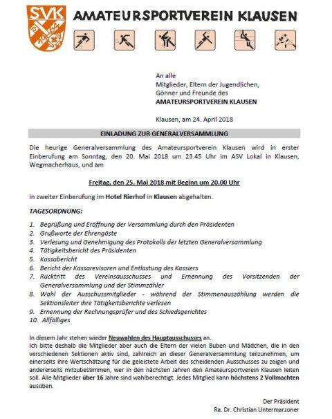 Generalversammlung mit Neuwahl am 25.05.18